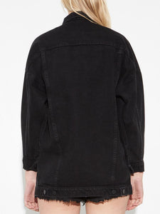 Long Drop Shoulder Jacket in Black by Oak OOS