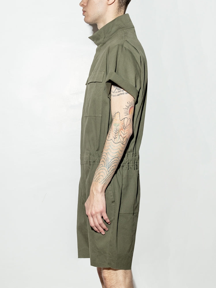 Load image into Gallery viewer, Oak Cropped Seigel Jumpsuit in Fatigue