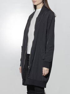 Long Zip Bomber in Black by Oak