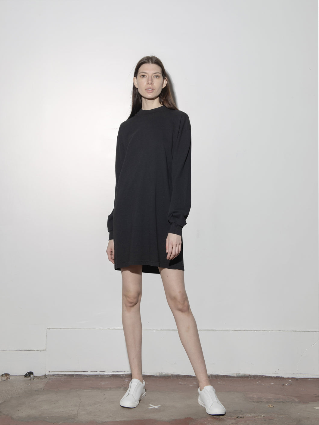 Oak Long Sleeve Mock Neck Dress in Black