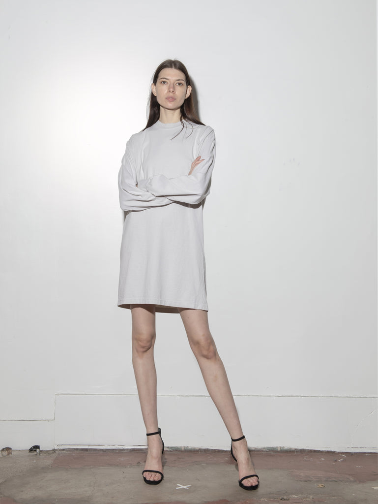 Load image into Gallery viewer, Oak Long Sleeve Mock Neck Dress in Cement