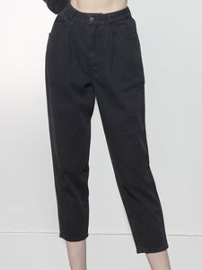 Pleated Baggy Jean in Black by Oak