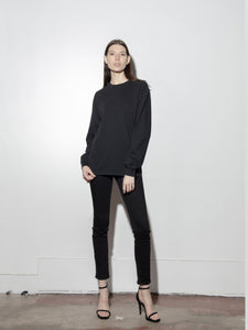 Long Sleeve Standard Crew Tee in Black by Oak OOS