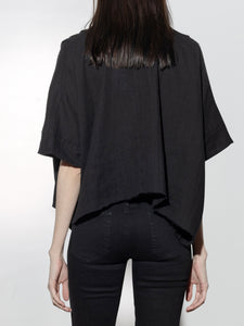 Cropped Pintuck Shirt in Black by Oak OOS