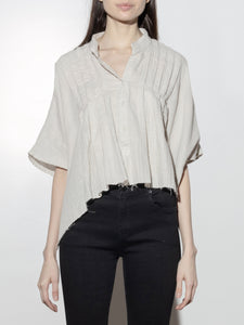 Cropped Pintuck Shirt in Putty by Oak