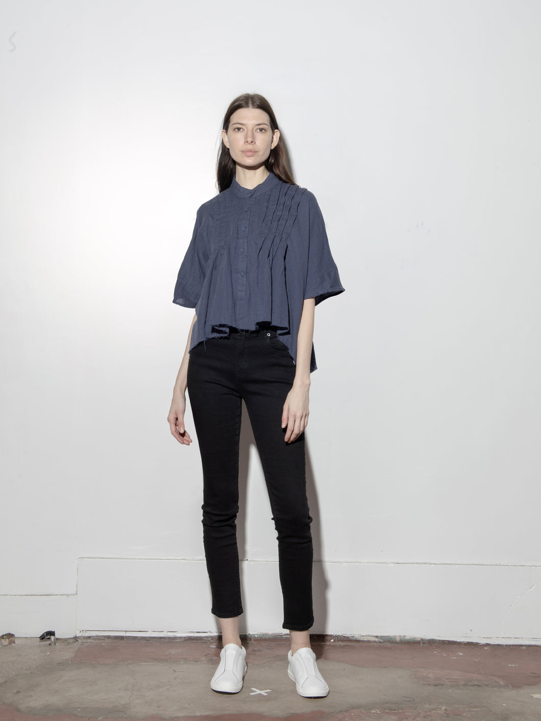 Cropped Pintuck Shirt