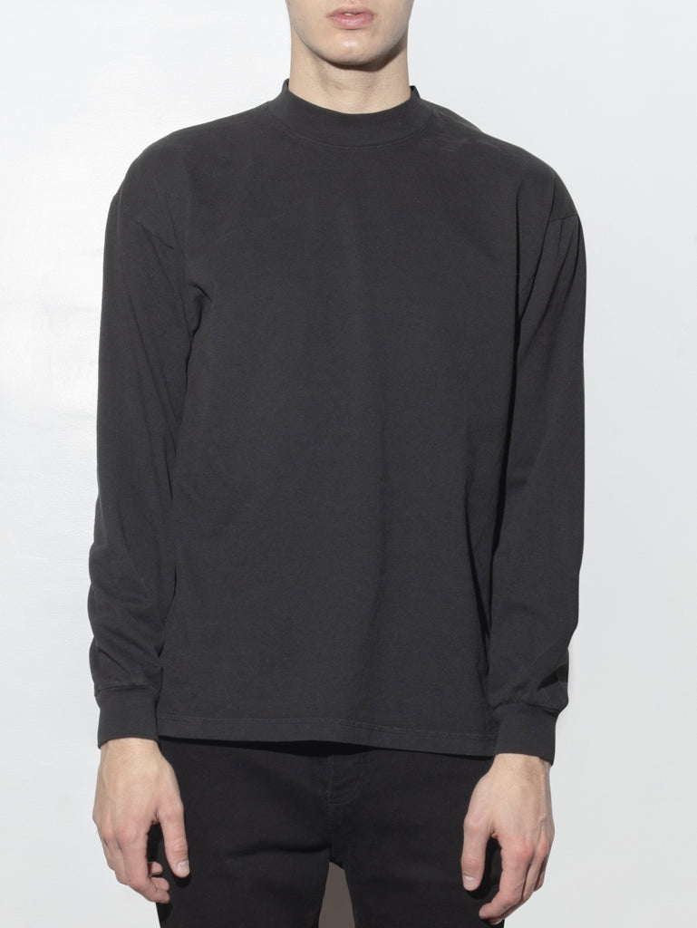 Long Sleeve Mock Neck Tee in Black by Oak