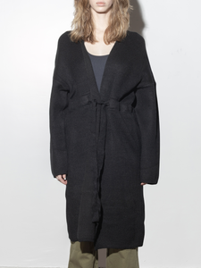 Waist Tie Knit Jacket in Black by A/OK