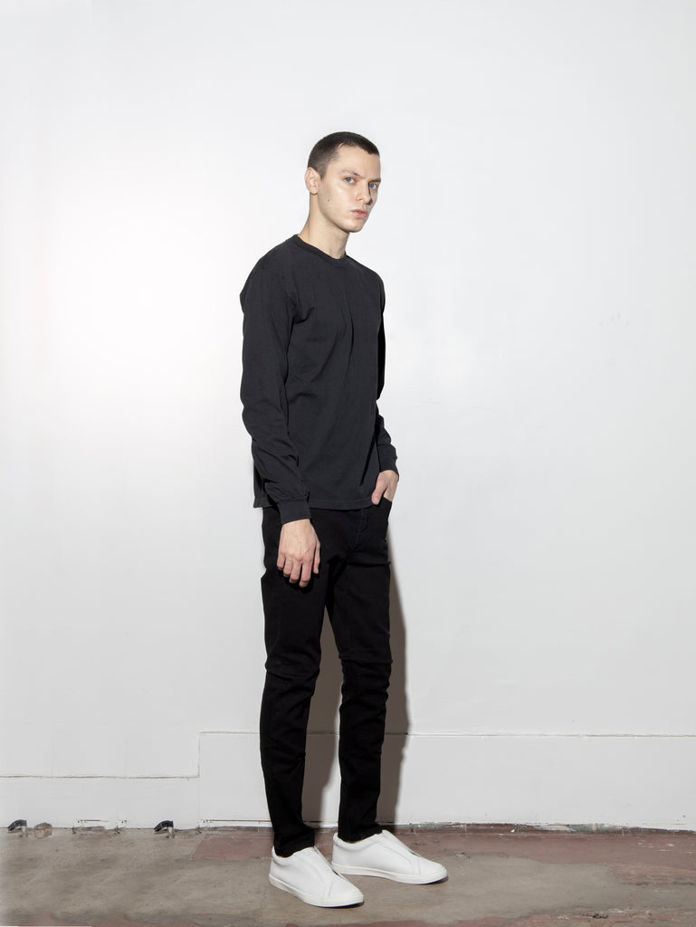 Long Sleeve Standard Crew Tee in Black by Oak