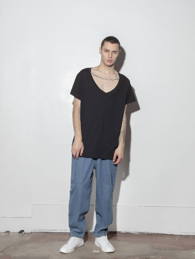 Oversize V Tee in Black by Oak