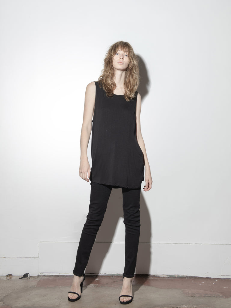 OVERSIZED A-LINE TUNIC in Black by A/OK