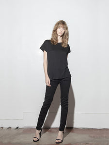 Drop Sleeve Cap Tee in Black by A/OK OOS