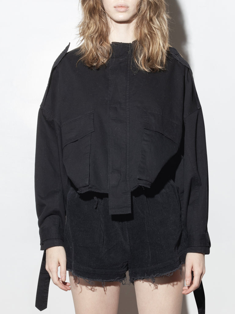 Load image into Gallery viewer, A/OK Crop Cargo Jacket in Black