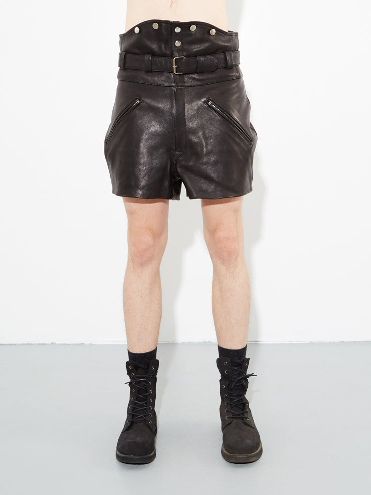 Black Leather Biker Short by Oak in Black by Oak