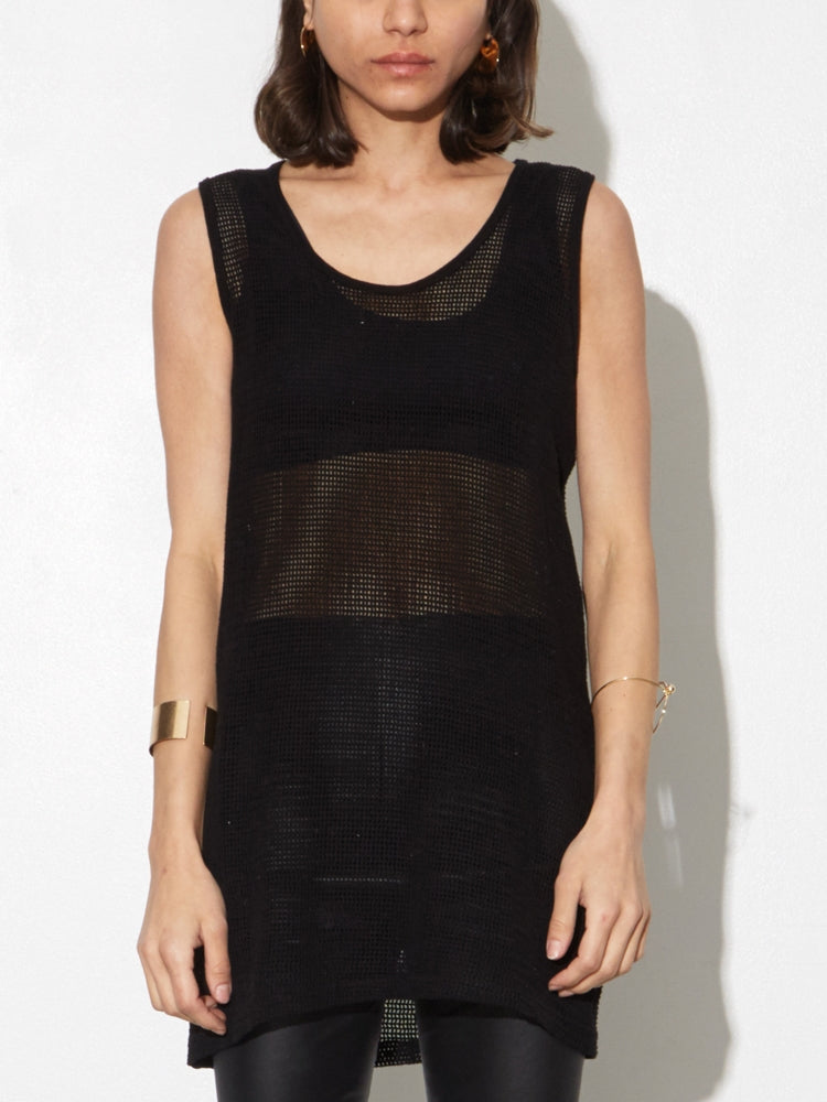 Oak Mesh Tank in Black in Black by Oak