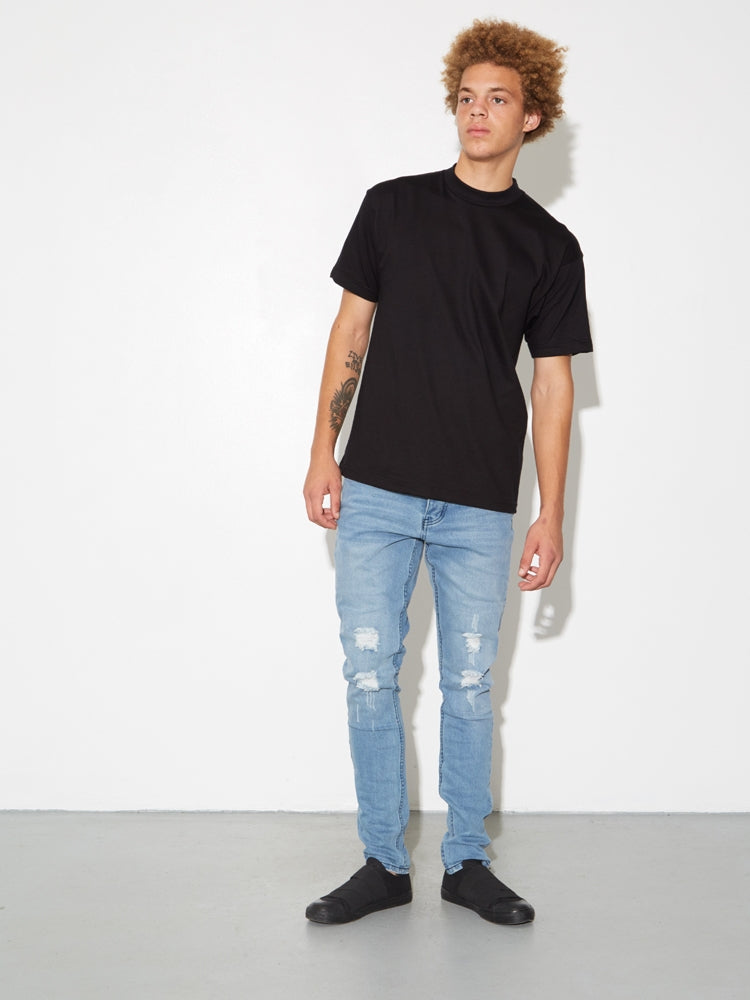 Mock Neck Tee in Black by Oak