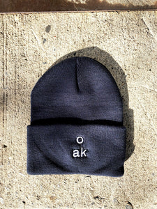 Stacked Logo Beanie in Navy by Oak OOS
