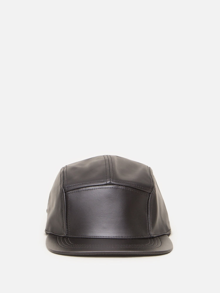 Oak Leather 5 Panel Hat in Black