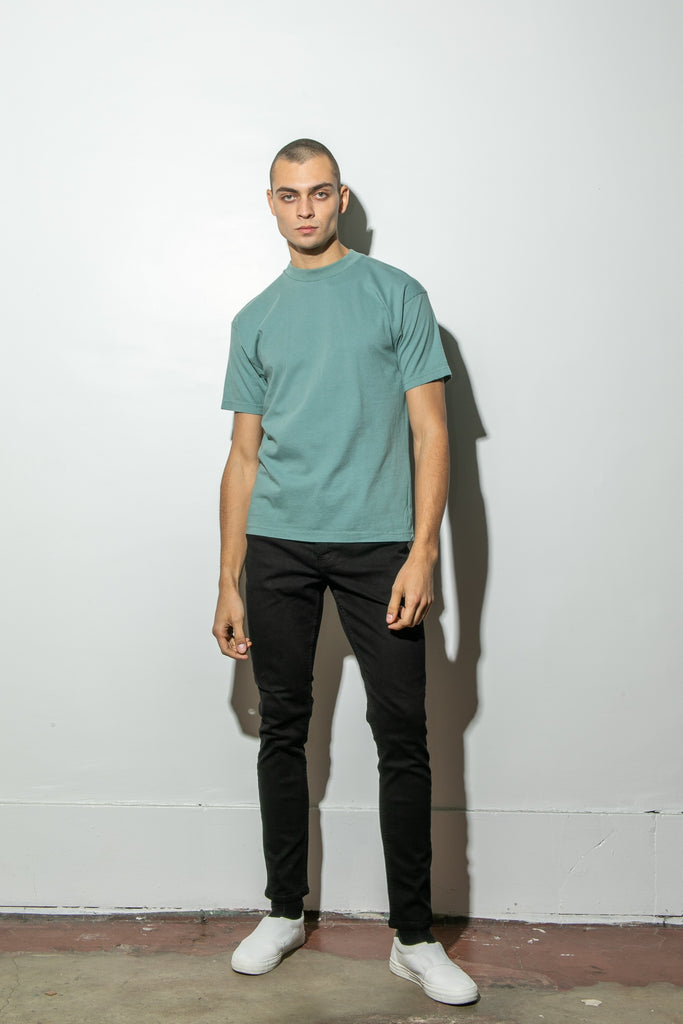 Oak Mock Neck Tee in Atlantic Green in Atlantic Green by Oak