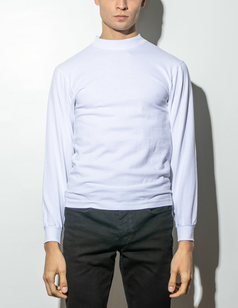Oak Long Sleeve Mock Neck Tee in White in White by Oak