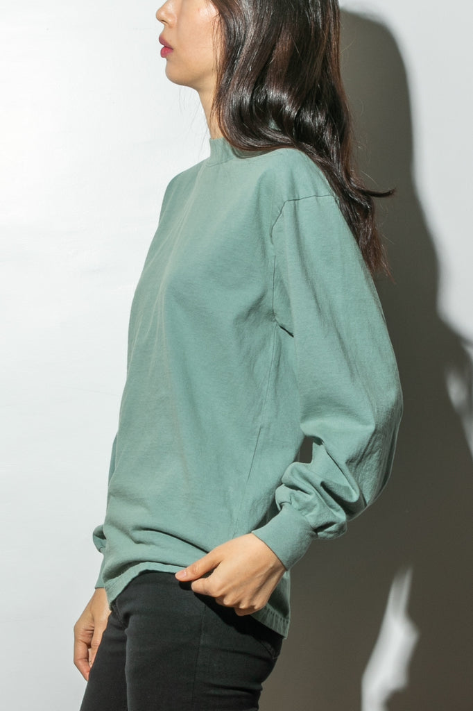 Oak Long Sleeve Mock Neck Tee in Atlantic Green in Atlantic Green by Oak