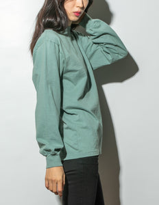 Oak Long Sleeve Mock Neck Tee in Atlantic Green in Atlantic Green by Oak OOS