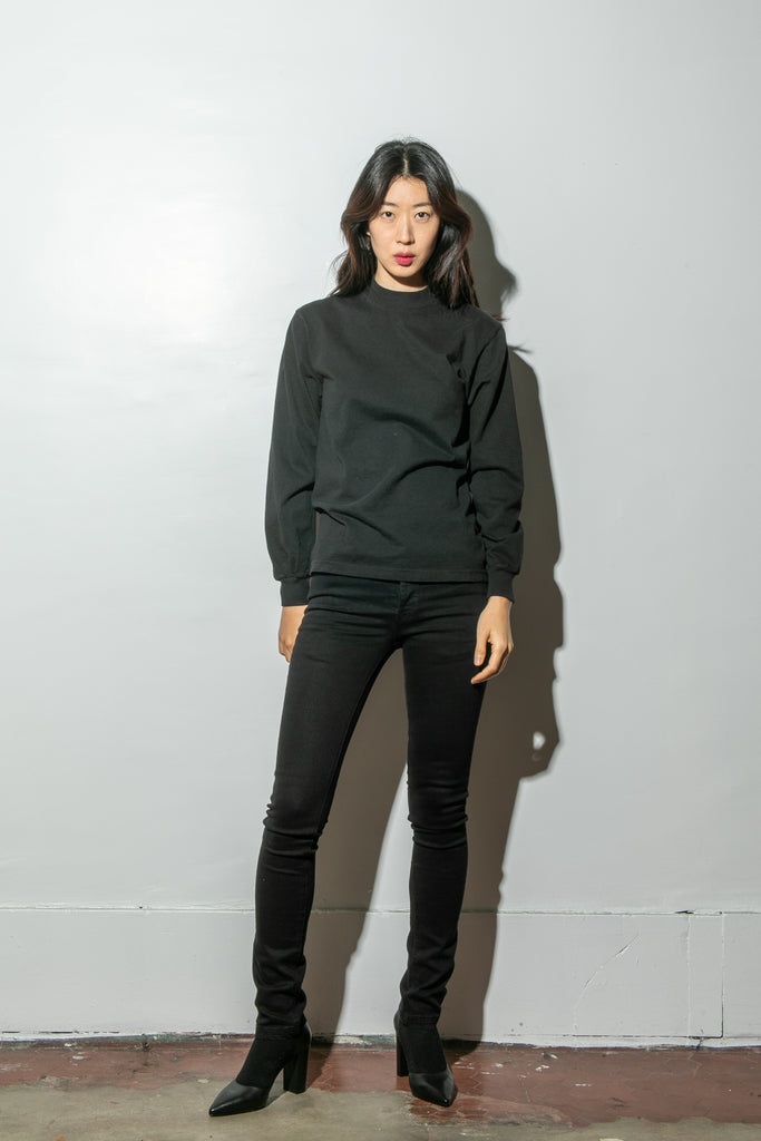 Oak Long Sleeve Mock Neck Tee in Black in Black by Oak