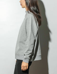 Oak Mock Neck Sweatshirt in Heather Grey in Heather Grey by Oak OOS
