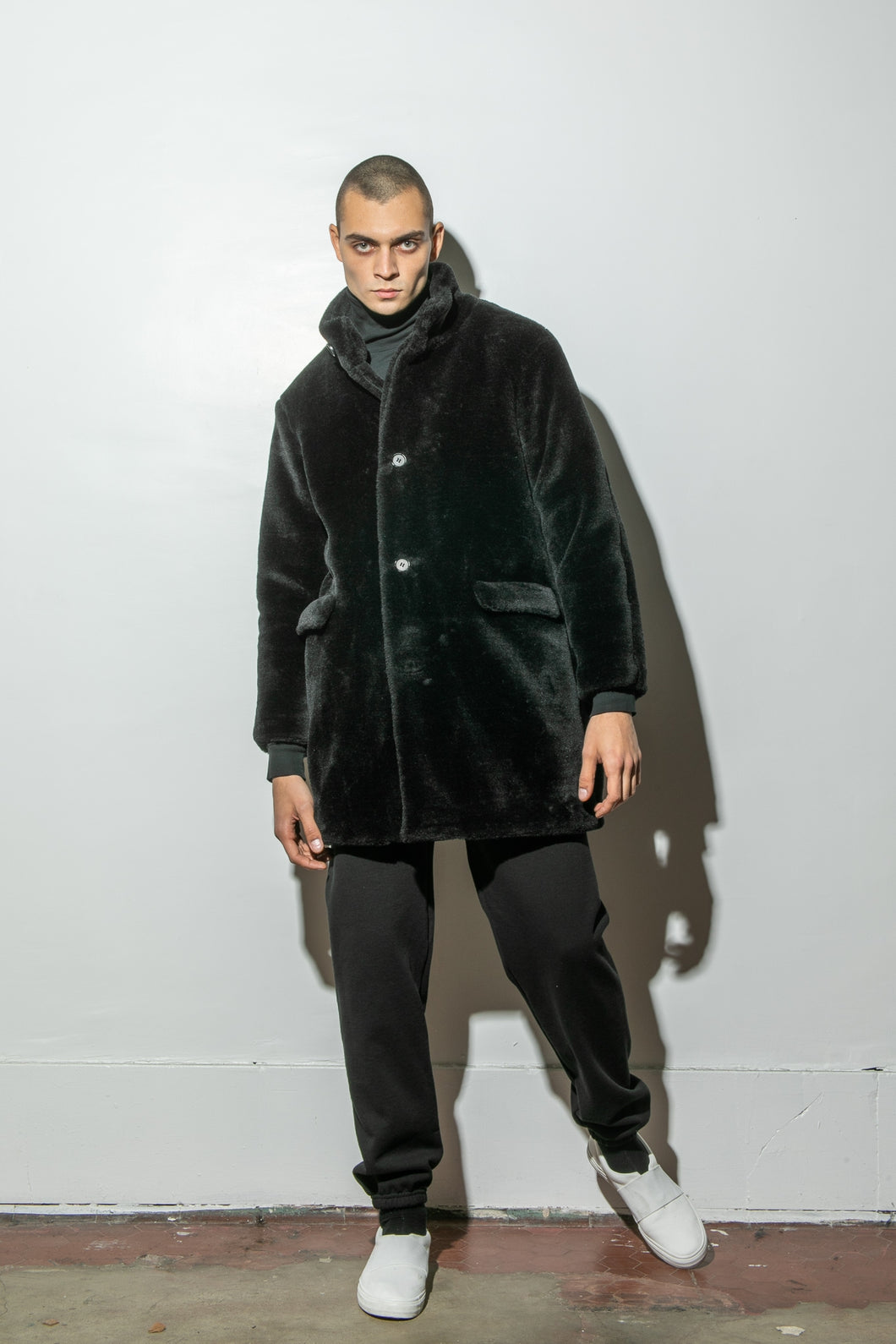 Oak Stand Collar Balmacaan Coat in Black