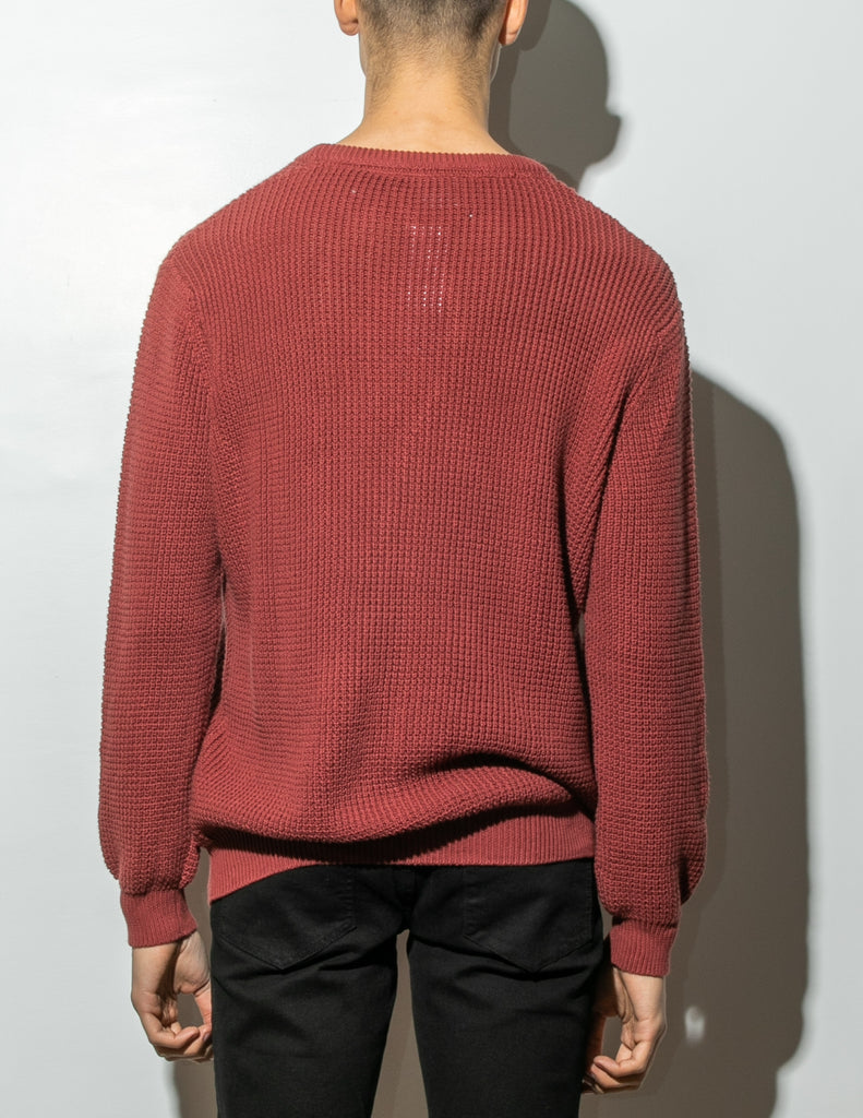 Load image into Gallery viewer, Oak Long Crewneck Sweater in Burnt Orange
