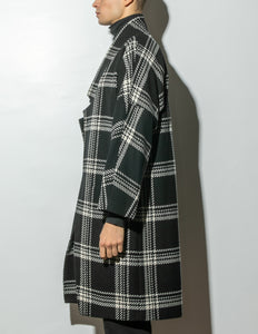 Dropped Lapel Coat in Plaid by Oak OOS