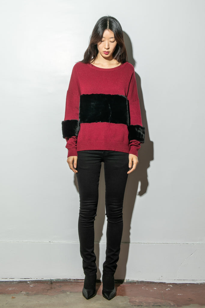 A/OK Wide Contrast Stripe Sweater in Burgundy/Black in Burgundy/Black by A/OK