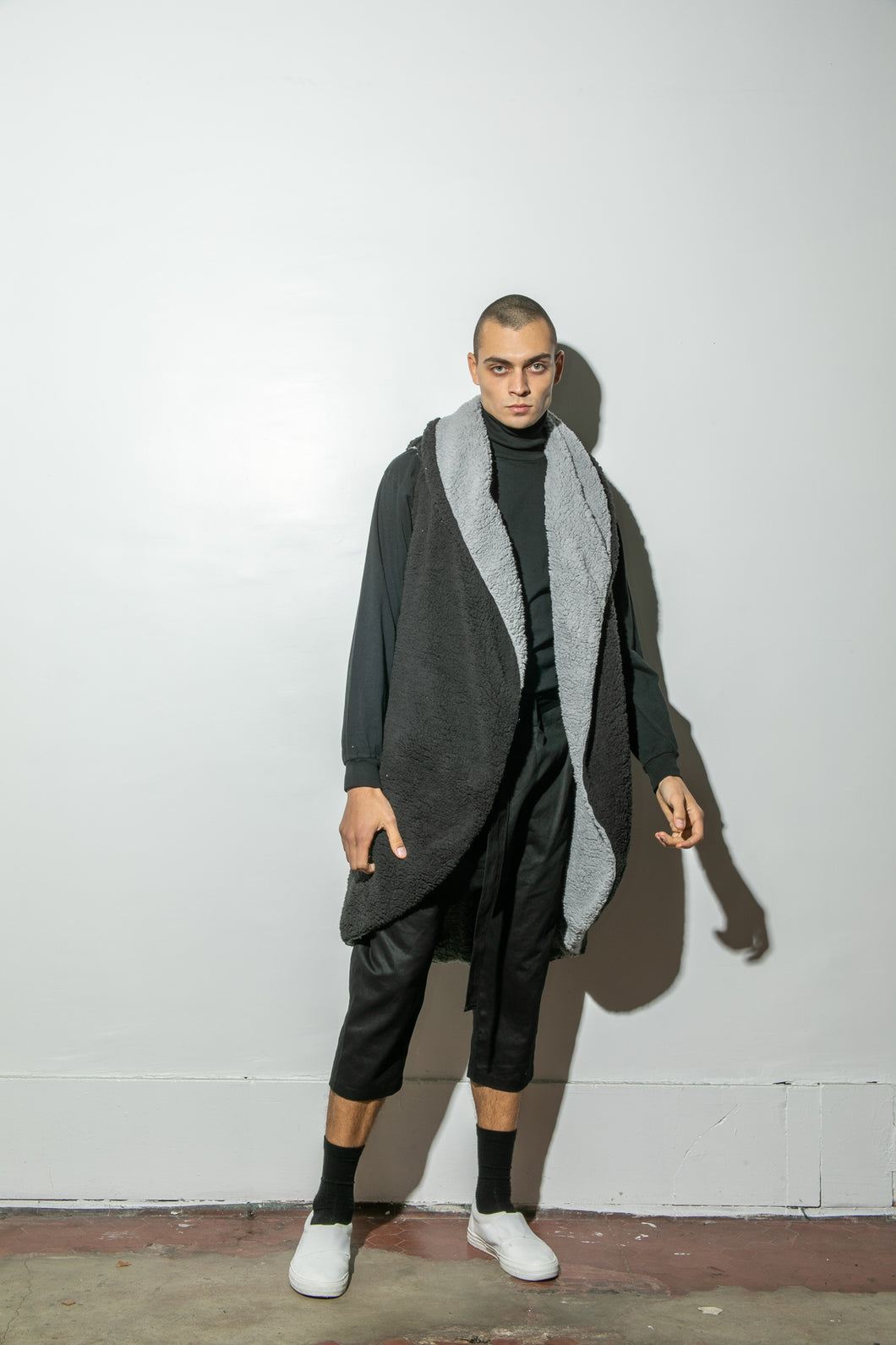 A/OK Reversible Faux Shearling Cardigan in Black