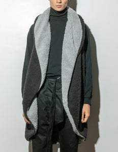 A/OK Reversible Faux Shearling Cardigan in Black in Black by A/OK OOS