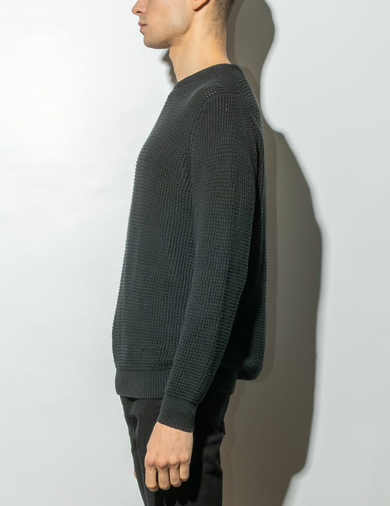 Load image into Gallery viewer, Oak Long Crewneck Sweater in Black