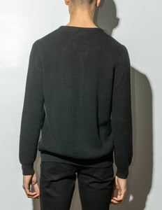 Oak Long Crewneck Sweater in Black in Black by Oak