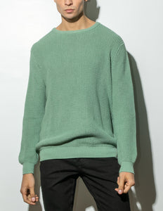 Oak Long Crewneck Sweater in Atlantic Green in Atlantic Green by Oak