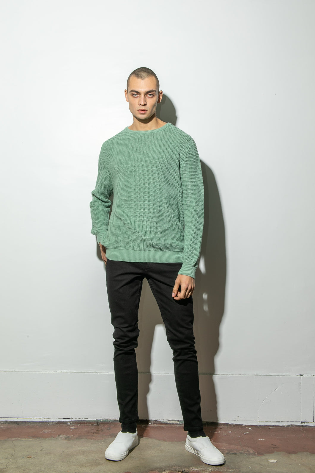 Oak Long Crewneck Sweater in Atlantic Green