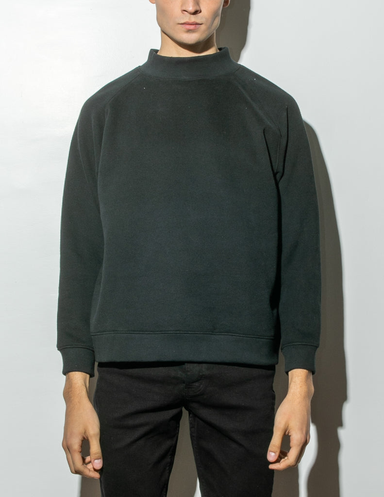 Oak Mock Neck Sweatshirt in Black in Black by Oak