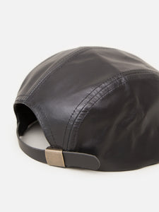 Oak Leather 5 Panel Hat in Black in Black by Oak OOS