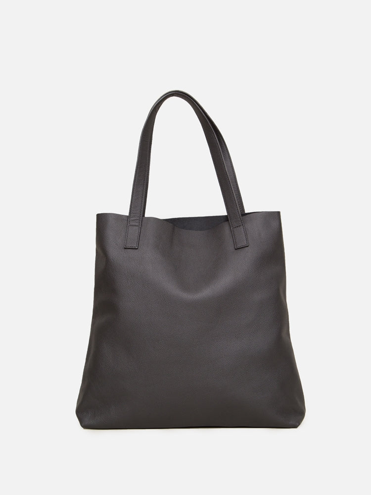 Oak Monitor Tote in Black Leather