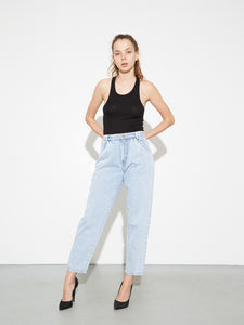 Oak Pleated Baggy Jean in Blowout Wash in Blowout Wash by Oak