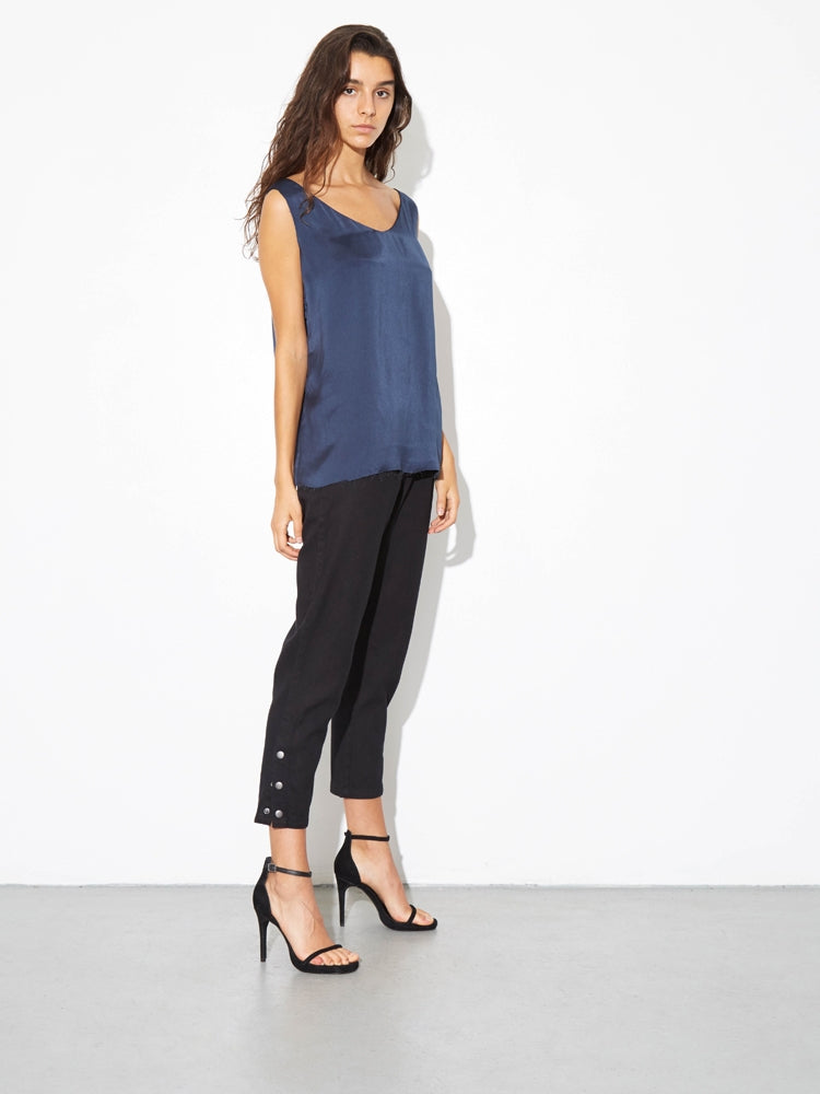 Load image into Gallery viewer, Oak Side Zip Baggy Jean in Black