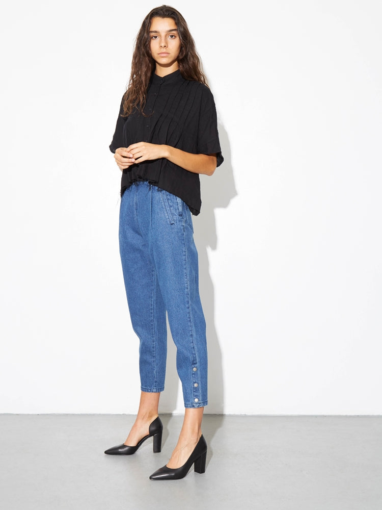 Oak Side Zip Baggy Jean in Indigo