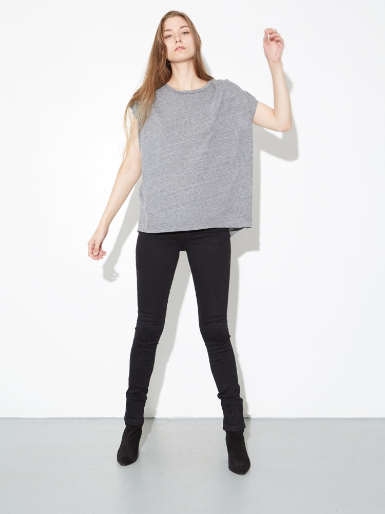 Load image into Gallery viewer, Oak Side Pleat Box Tee in Heather Grey