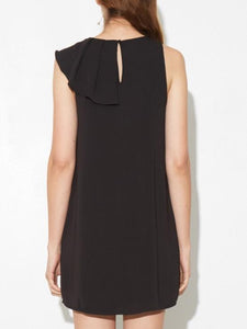Side Ruffle Dress in Black by A/OK OOS