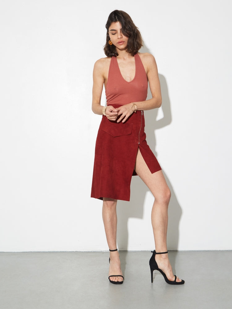 LA Suede Moto Skirt in Burnt Orange by Oak