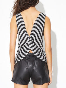 Twist Back Top in Grey/Black by A/OK OOS