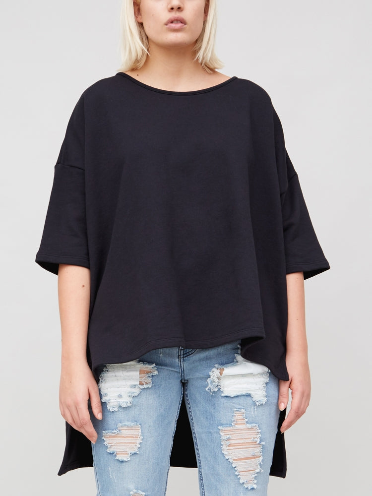 Oak Wide Tee (Heavy Terry) in Black in Black by Oak