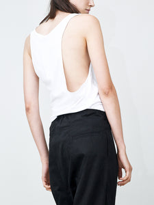 Oak Side Cowl Tank in White in White by Oak